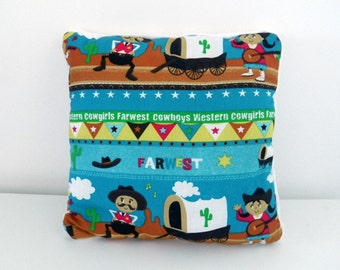 Child cushion with western and cowboys in cotton and velvet