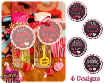 Printable BUBBLE VALENTINE TAGS - Valentine Tags - Valentine Cards - Valentine Tags For Bubbles - Diy Valentines - Valentine's Day Cards