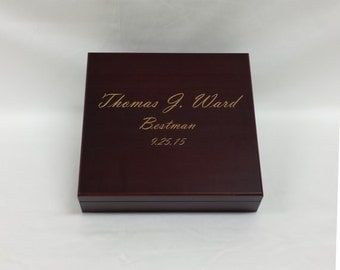 Engraved Humidor Cigar Box, Cherry, Wedding gift, Groomsman Gift, Best Man Gift, Wedding Party Gift, Personalized Humidor, Grooms Gift