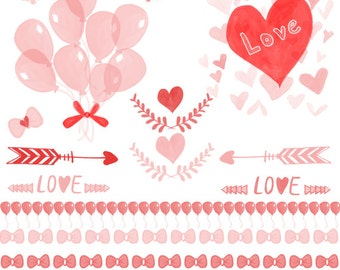 Hand Drawn Heart Clipart & Love Valentines Day Digital Clip Art For Him And Her