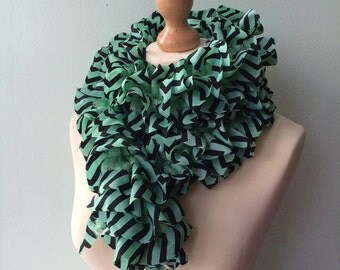 SUMMER SALE! WAS 17.00 - hand knitted mint & black zigzag fabric ruffle scarf