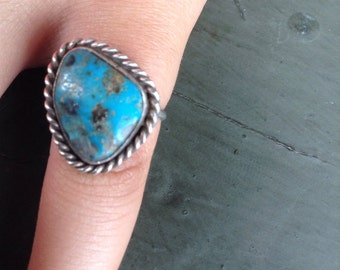 VTG Turquoise and Sterling Silver Ring SZ 5.75 Chunky