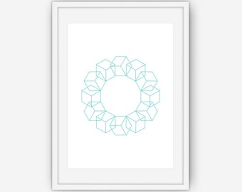 Teal Geometric Art, Cube Wall Art, Abstract Wall Art, Teal Print, Printable, Instant Download