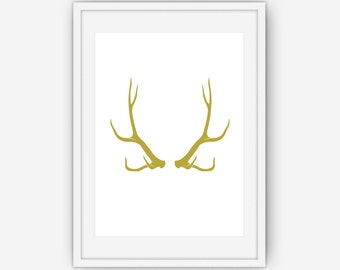 Gold Antler Print, Antler Wall Art, Antler Print, Gold Print, Wall Art, Printable, Instant Download