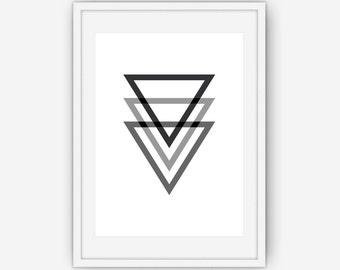 Triangle Print, Black Wall Art, Triangle Wall Art, Triangles, Minimalist, Abstract Print Wall Art, Printable, Instant Download