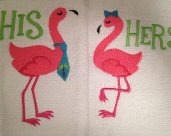 Flamingo 100% Cotton White His or Hers Hand or Bath Towels Embroidered.  Put in notes which gender towel that you would like.