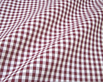 Fabric pure cotton gingham bordeaux white 1 cm x 1 cm Vichy dark red
