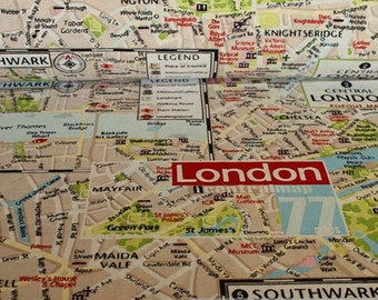 Fabric cotton polyester London city map