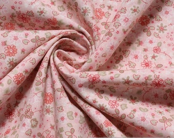 Fabric pure cotton poplin pink Mille Fleur light green