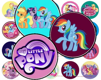 """1"""" My Little Pony Bottle Cap Image Sheets for Pary Favors - DIGITAL DOWNLOAD - A"""