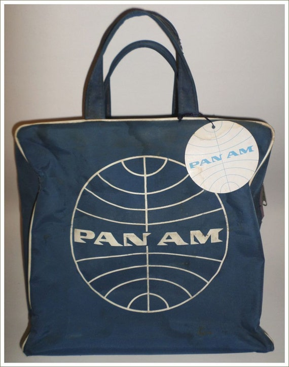 VIntage PAN AM Flight Bag Airline Travel Bag purse carryall With tags & metal zipper~Unused and ready for your adventures!