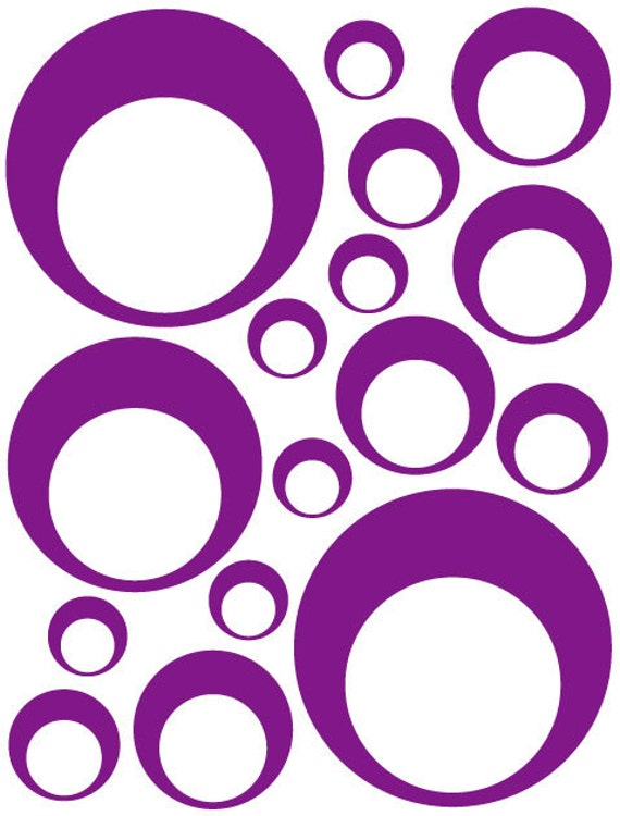 32 Purple Vinyl Circle in a Circle Bubble Dots Bedroom Wall Decals Stickers Teen Kids Baby Dorm Room Removable Custom Made Easy to Install
