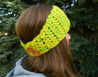 Headwarmer, Handmade Headband, Crochet Hairband, Crochet Headband Ear Warmer - Lime Green and Yellow w/ button closure  Fast Shipping!