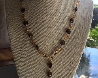 Citrine and andalusite necklace
