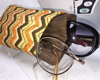 Brown Glasses Case, Double Eyeglasses Case, Double Sunglasses Case, Fall, Slip Style, Thickly Padded, Fabric Glasses Case