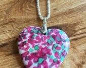 Rainbow Jasper Heart Pendant, Rainbow Magenta, White and Green Jasper Heart Gemstone Necklace