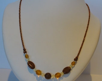 Chain with gold stone and czech beads.