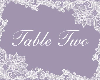 Lavender/Lilac and White Vintage Lace Wedding Table Name and Number Cards