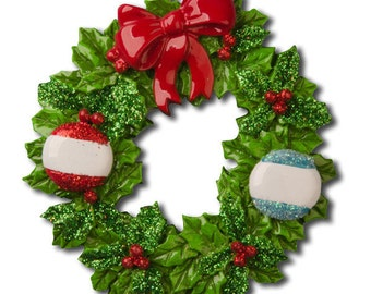 Personalized Wreath Family of 2 Christmas Ornament