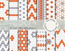 Beehive Tiles DIGITAL PAPER PACK- 14 beehive honeycomb hexagon tiles papers in white grey red colors, that create flowers chevron stripes