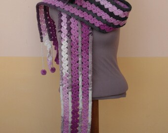 Crochet i-cord Scarf With Crochet Lace And Pompoms