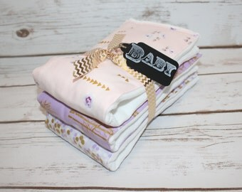 Modern Baby Burp Cloth~ Set of 3 Brambleberry Ridge Lavender~ Baby Shower Gift