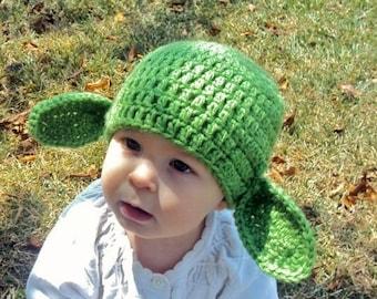 Yoda Baby Hat, Crocheted Yoda Baby Hat, Crocheted Yoda Beanie, Yoda Photo Prop
