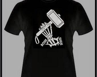 Thor Hammer T-shirt Bone Sign Series Black