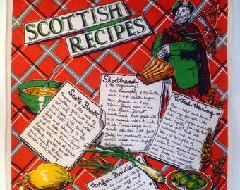 Vintage Scottish Recipes Linen Tea Towel