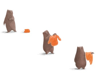 Benji Bear Illustration -  5 x Limited Edition Giclée digital art prints (400mm x 300mm)