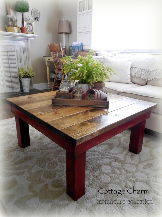 Items Similar To Chunky Coffee Table Harvest Table Square Rustic On Etsy