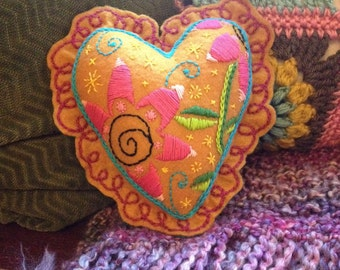Floral embroidered heart-shaped pillow - colorful and whimsical - 100% post-consumer recycled plastic felt