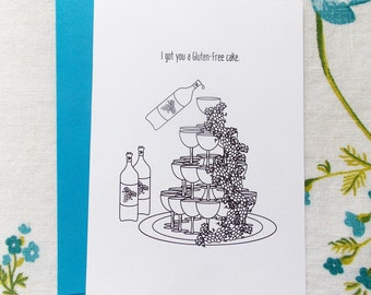 Tower of Wine Gluten Free Birthday Cake Card