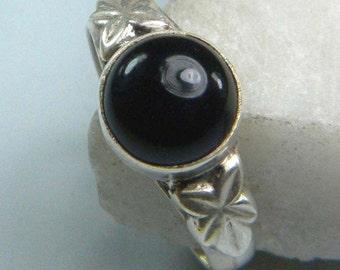 Black Onyx gem stone ring,stone ring , silver ring, handmade sterling silver ring, Black Onyx ring, ring-0314140045