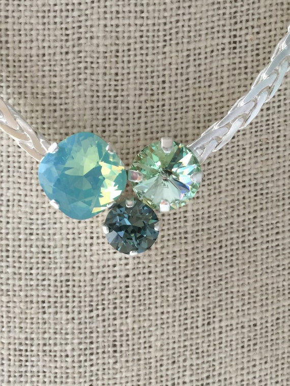 Matte Silve SALE ** Swarovski Trio Crystal Necklace, Pacific Opal Crystal Necklace, Chrysolite Crystal Necklace, Green Crystal Necklace