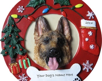 """German Shepherd Ornament Personalized with your Dog's Name, Hand Painted with a brush, Measures 3.75"""" Diameter"""