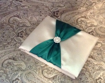 Wedding guest book ivory or white with green