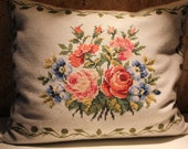 Decorative vintage hand embroidered pilow case cover - Scandinavian vintage home decor and pillow case