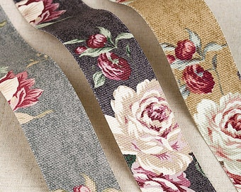 """Canvas Rose Flower-Patterned Fabric Linen Ribbon.  <1"""" (25mm), 1.5"""" (40mm) - 3Colors>"""