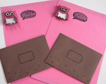 Handmade Owl Stationery Set