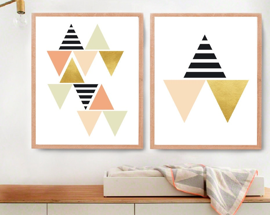 Geometric wall art black white and gold room decor modern Painting geometric patterns on walls