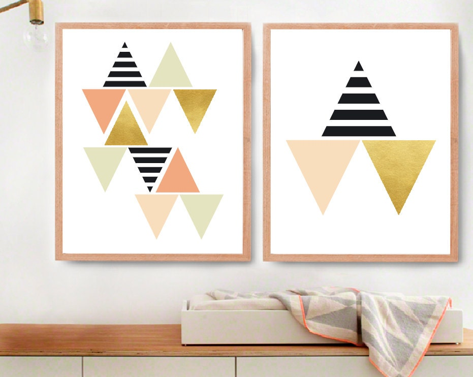 Black And White Contemporary Wall Decor : Geometric wall art black white and gold room decor modern