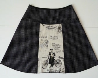 Nostalgic bikes skirt, A-line skirt, black, dots, size EU 38/40 (USA 8/10, UK 10/12), cotton, zipper