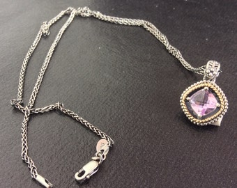 Diamond Shaped Amethyst Necklace Wrapped in Sterling Silver and 14k Rope Pattern