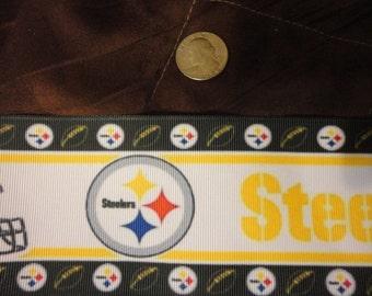 5 yard of  1 inch wide Pittsburgh Steeler grosgrain ribbon
