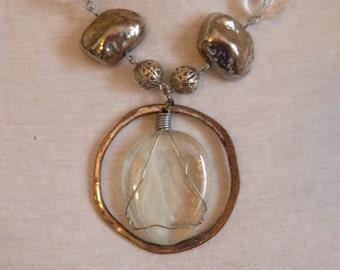 swarovski gem and feather glass necklace