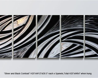 """Original Metal Wall Art Shining Painting Sculpture Indoor Outdoor Decor Direct From Artist """"Silver and Black Contrast"""""""