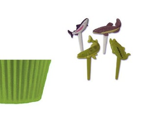 Trout & Bass Fish Picks with Lime Green Baking Cups