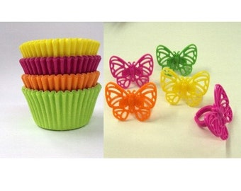 Butterfly Rings with Assorted Color Baking Cups