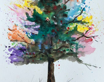 Abstract Tree Watercolor